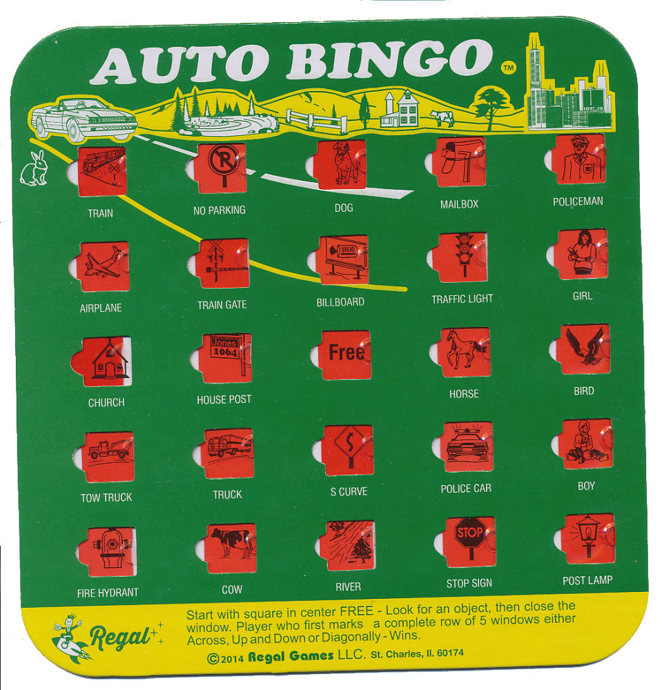 This is an image of Universal Car Bingo Cards