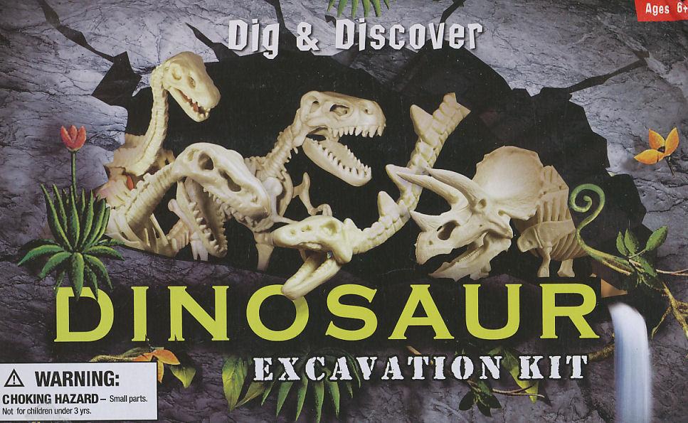 Dinosaurs Mdf Toy Box Childrens Storage Toys Games Books: Dinosaur Excavation Kit (Triceratops)