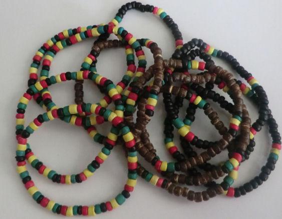 12x rasta bead bracelets stretchy coconut assorted