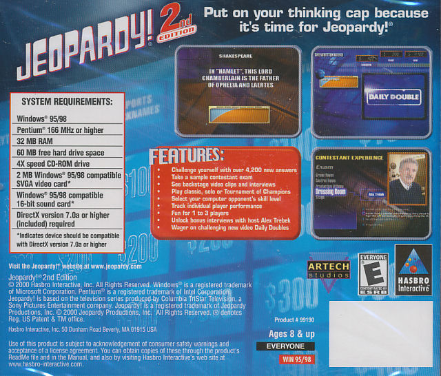 Examples Of Jeopardy Categories: Jeopardy 2 2nd Edition Classic TV Game Show Trivia PC Game