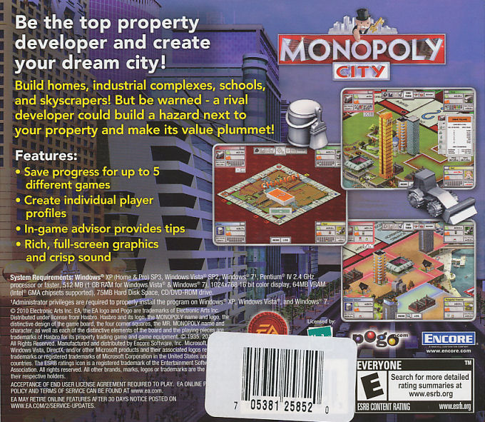 MONOPOLY CITY - Property Developer Building Sim PC Game for Win XP/Vista/7 NEW!